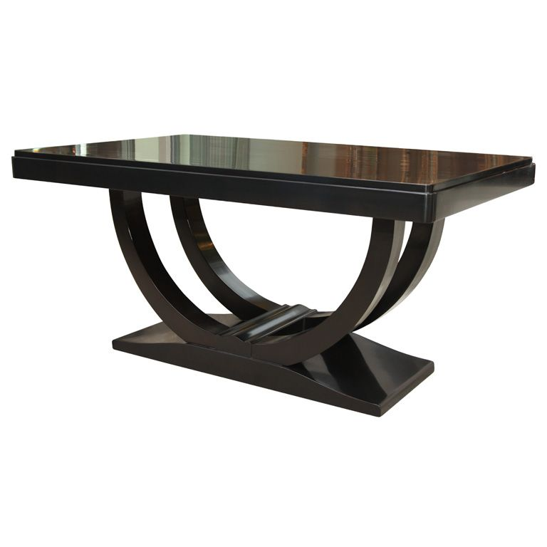 art deco dining table in ebonized walnut | dining room table, art