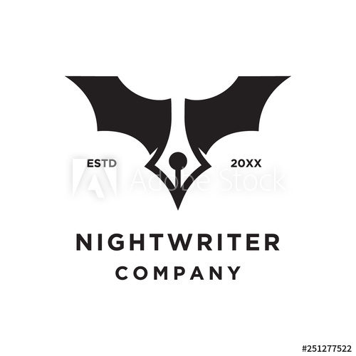 Pen Writer With Bat Night Wings Logo Icon Vector Template Buy This Stock Vector And Explore Similar Vectors At Adobe Stock Wings Logo Logo Icons Nightwing