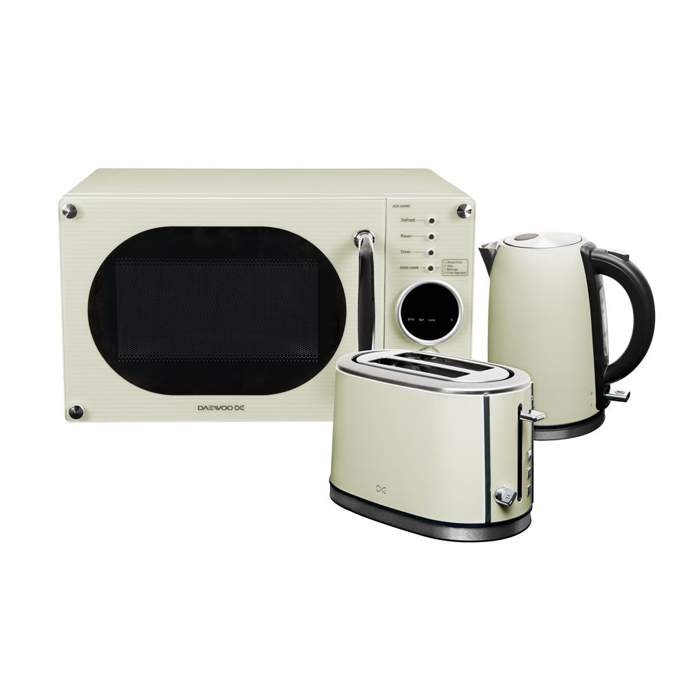 Daewoo cream retro microwave kettle and toaster set for Kitchen set kettle toaster microwave
