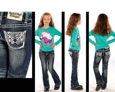 Rock & Roll Cowgirl® Girls' Silver Back Pocket Embroidery Bootcut ...
