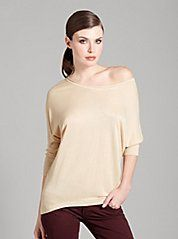 MARCIANO Boyfriend Sweater Top  (I adore this cream colored top) definitely goes well with a pair of dark wash denim jeans...  Retail--$108.00