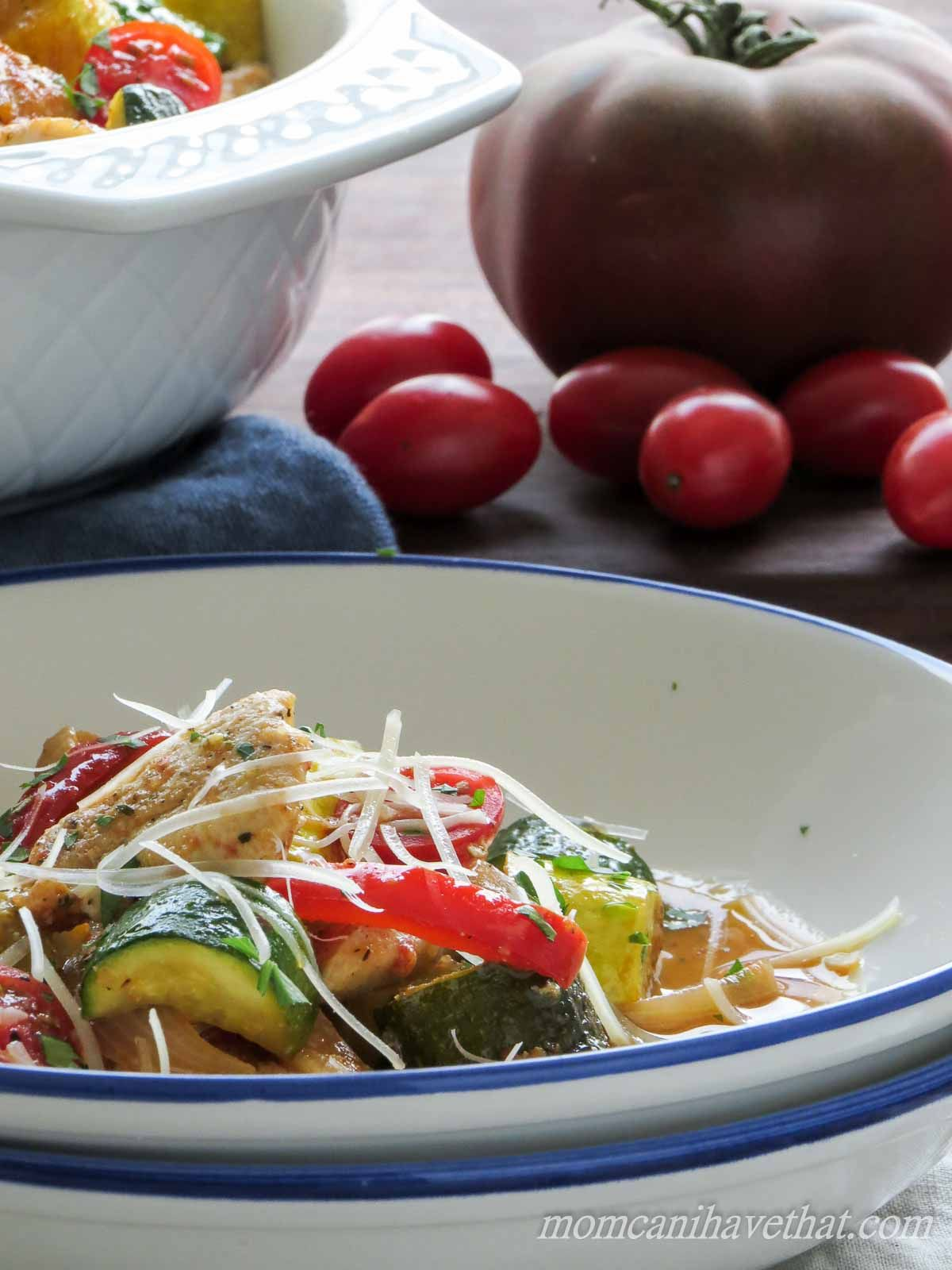 Chicken & Summer Vegetable Saute promises all of Summer's great tastes in one dish.   low carb, gluten-free, paleo, keto   lowcarbmaven.com