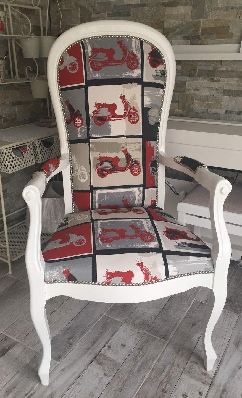 fauteuil voltaire r nov scooter rouge noir blanc gris shabby encantadores pinterest. Black Bedroom Furniture Sets. Home Design Ideas