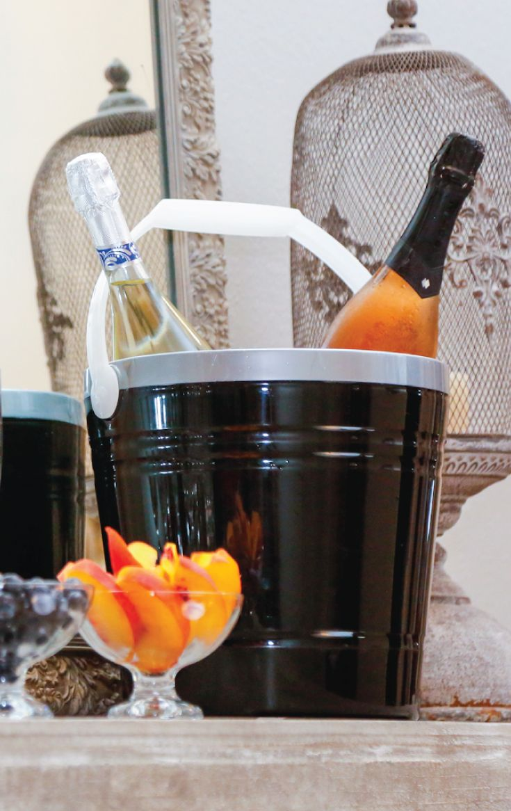 Keep Wine Crisp In The Igloo Party Pail Insulated Ice Bucket. Black U0026  Silver Colorway