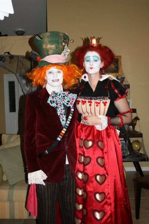These photos are our interpretation of the 2010 Alice in Wonderland character's   the Red Queen and the Mad Hatter. These costumes are homemade and all makeup was   done by myself and the Red Queen...