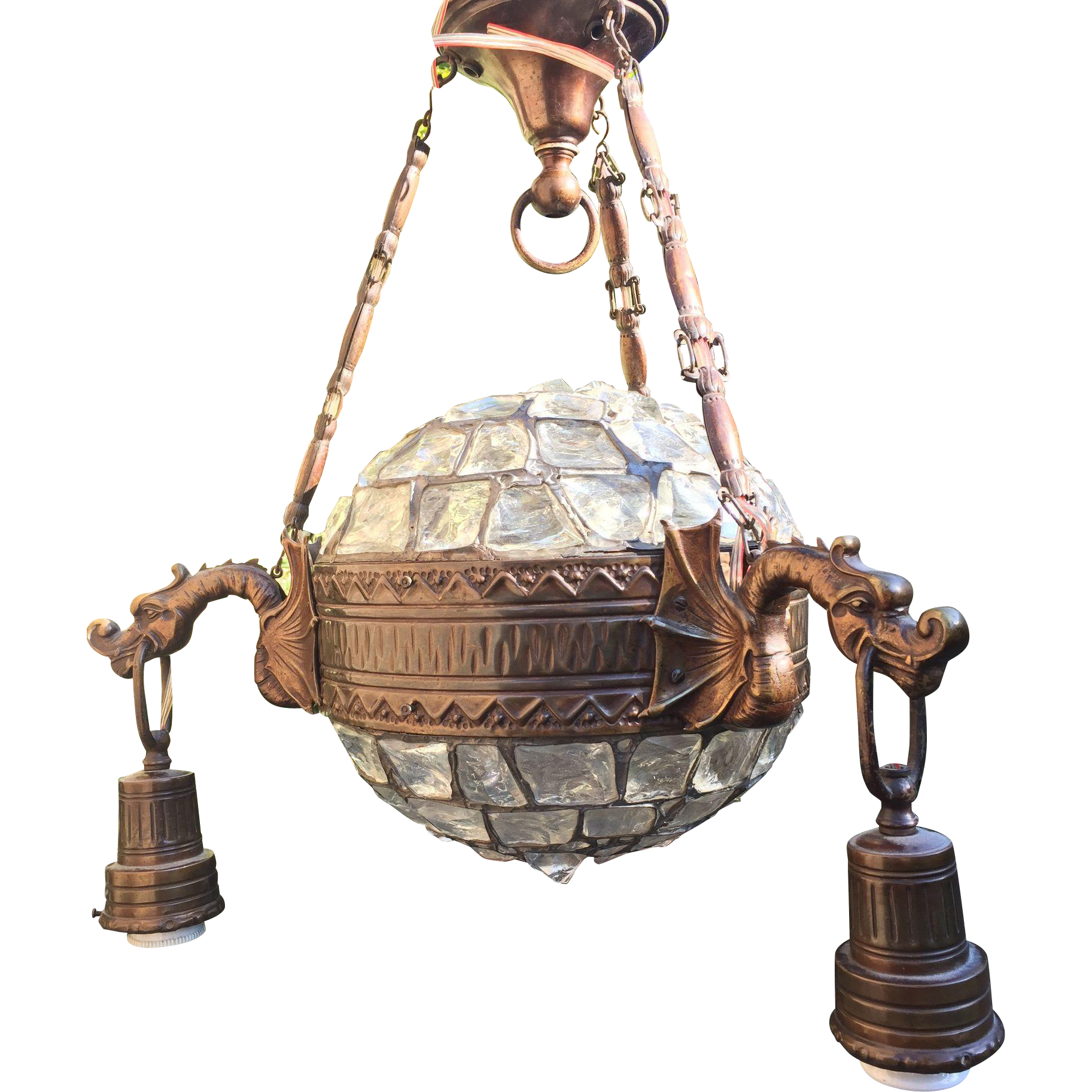 Art Nouveau Austrian dragon chandelier leaded glass