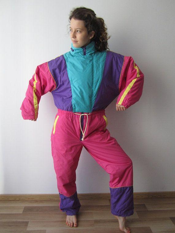 4988c7ff1b Vintage 80 s 90 s Ski Suit Colorblock Pink Purple Blue One Piece Jumpsuit  Retro Snowsuit Hipster Winter Wear Size Large