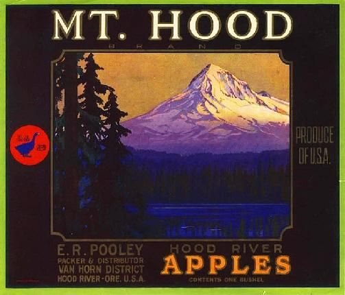 Hood River Oregon Mountain Apple Crate Label Print