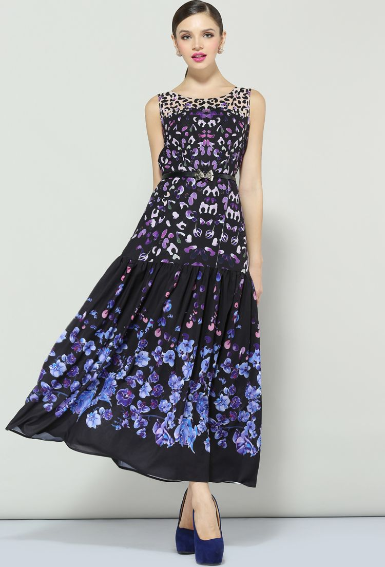Purple sleeveless floral pleated long dress summer outfits