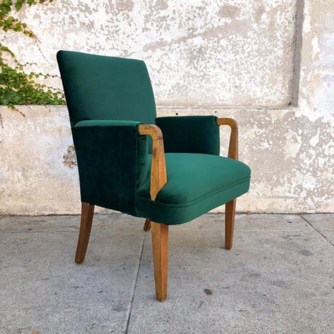 Green Velvet Art Deco 1940's Armchair from Sunbeam Vintage ...