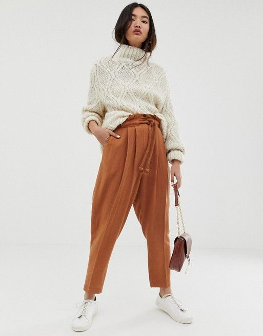 DESIGN gutsy linen tapered pants with rope belt in 2019 ... 08e5397fa5