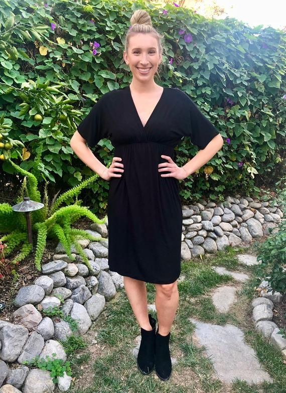 28bf504478f Black Kimono Knee Length Dress