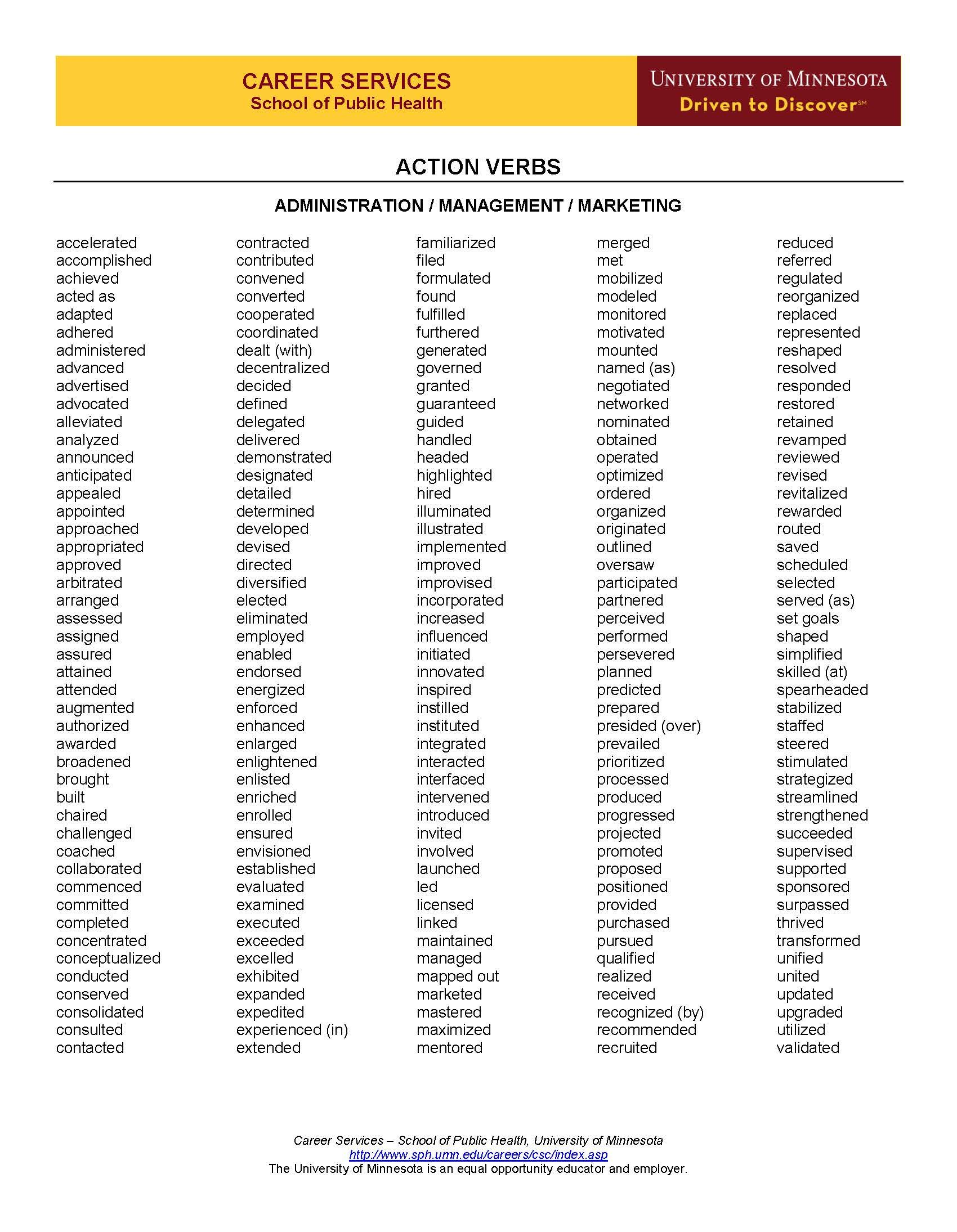 Action Verbs For Resumes Action Verbs Page 1  Resume Guide  Pinterest  Action Verbs