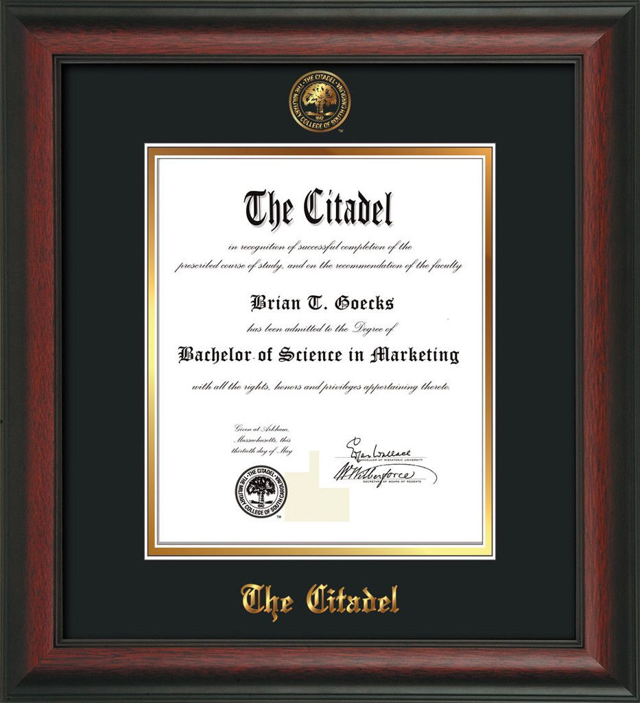 The Citadel Diploma Frame - Rosewood - Citadel Seal - Black on Gold ...