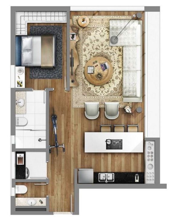 Plano de casa pequena 35m2 cocinas pinterest for Appartement 35m2 design