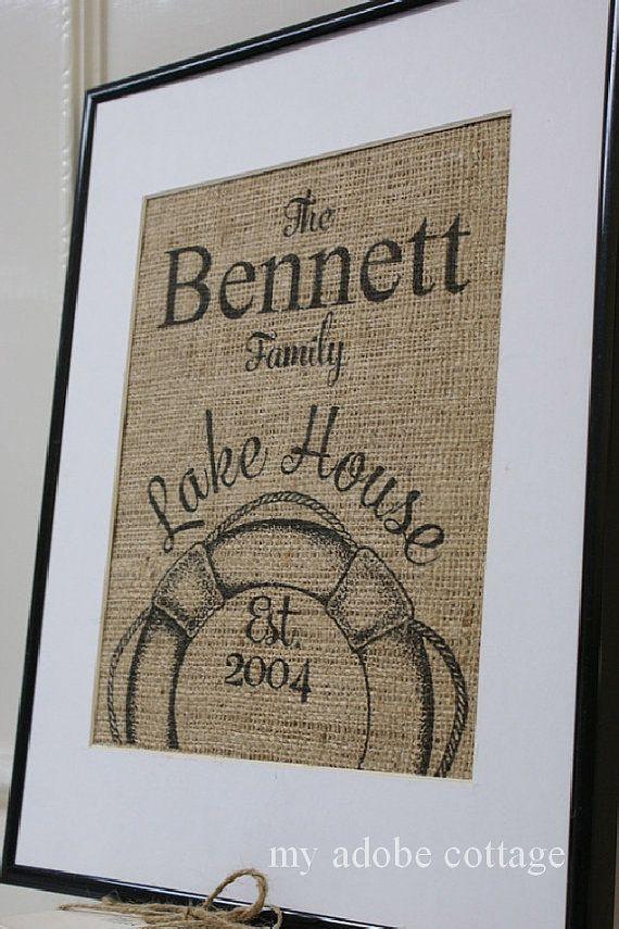 cadeau de pendaison de cr maill re lac maison toile de jute print great personnalis en 2019. Black Bedroom Furniture Sets. Home Design Ideas