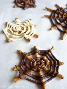 Halloween, Chocolate Pretzel Spider Web