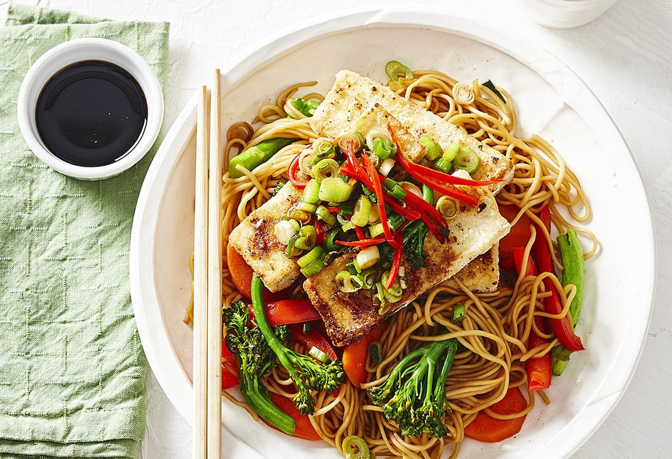 Salt And Pepper Tofu With Vegetable Noodles Recipe Vegetarian