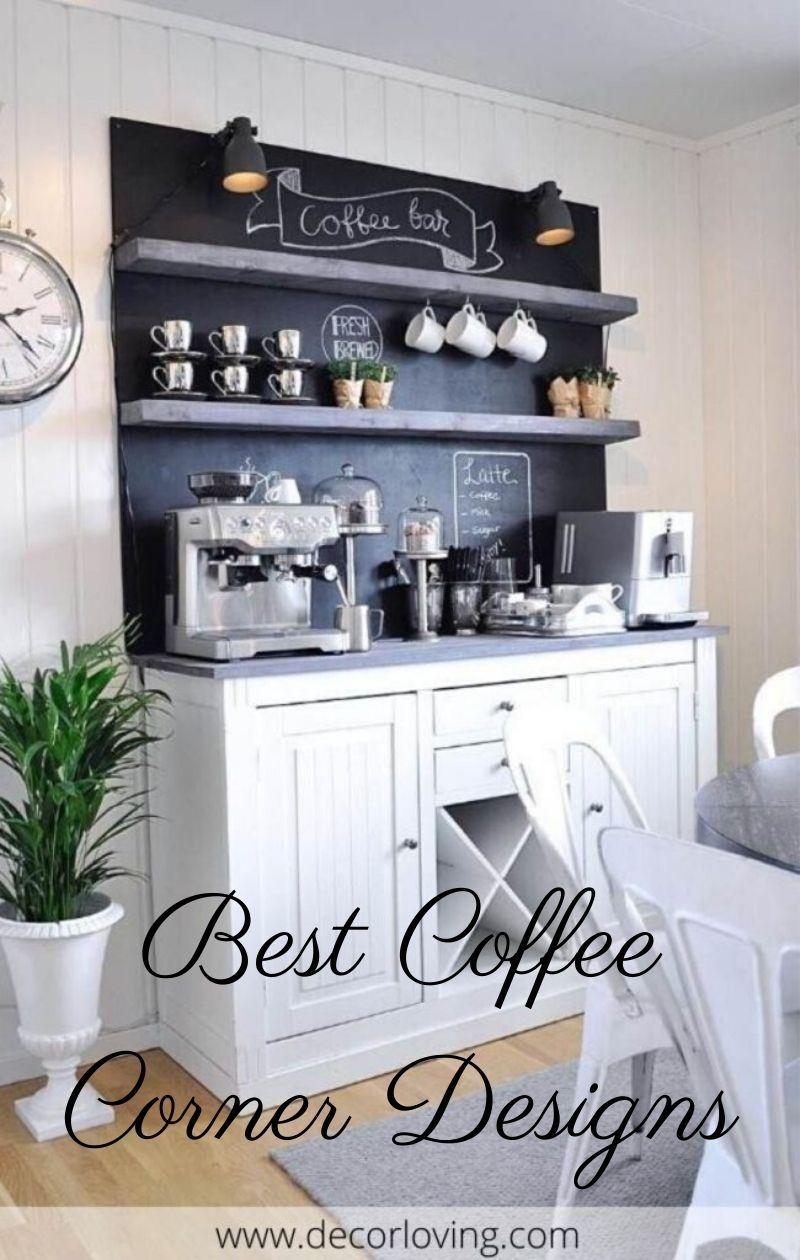 18 Coffee Corner Decor Ideas With Black Background In White Kitchen Coffee Bar Home Home Coffee Bar Diy Coffee Bar