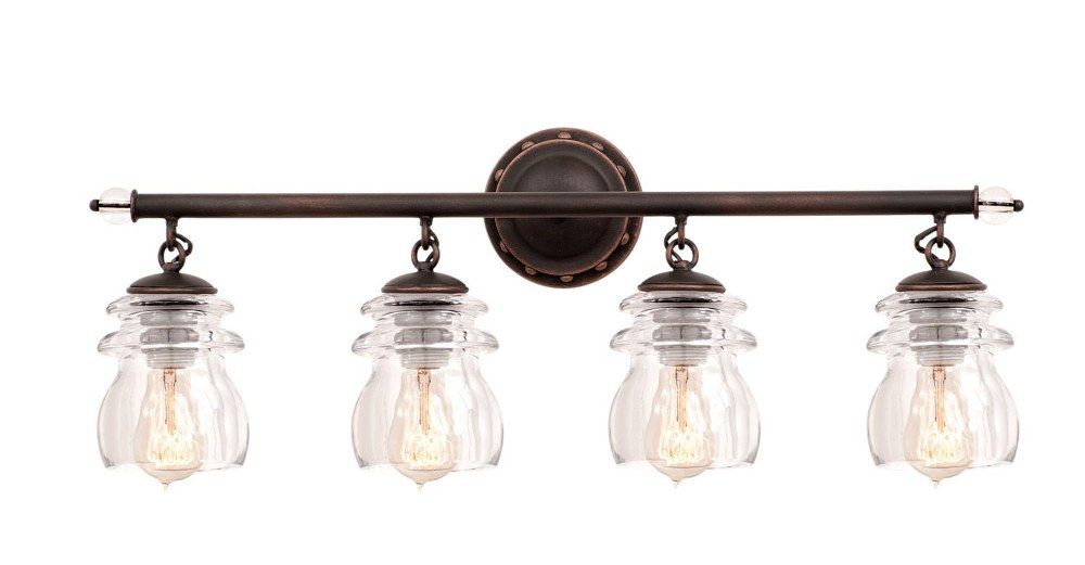 Photo of Brierfield – Four Light Bad Vanity Antique Copper Finish with Clear Glass