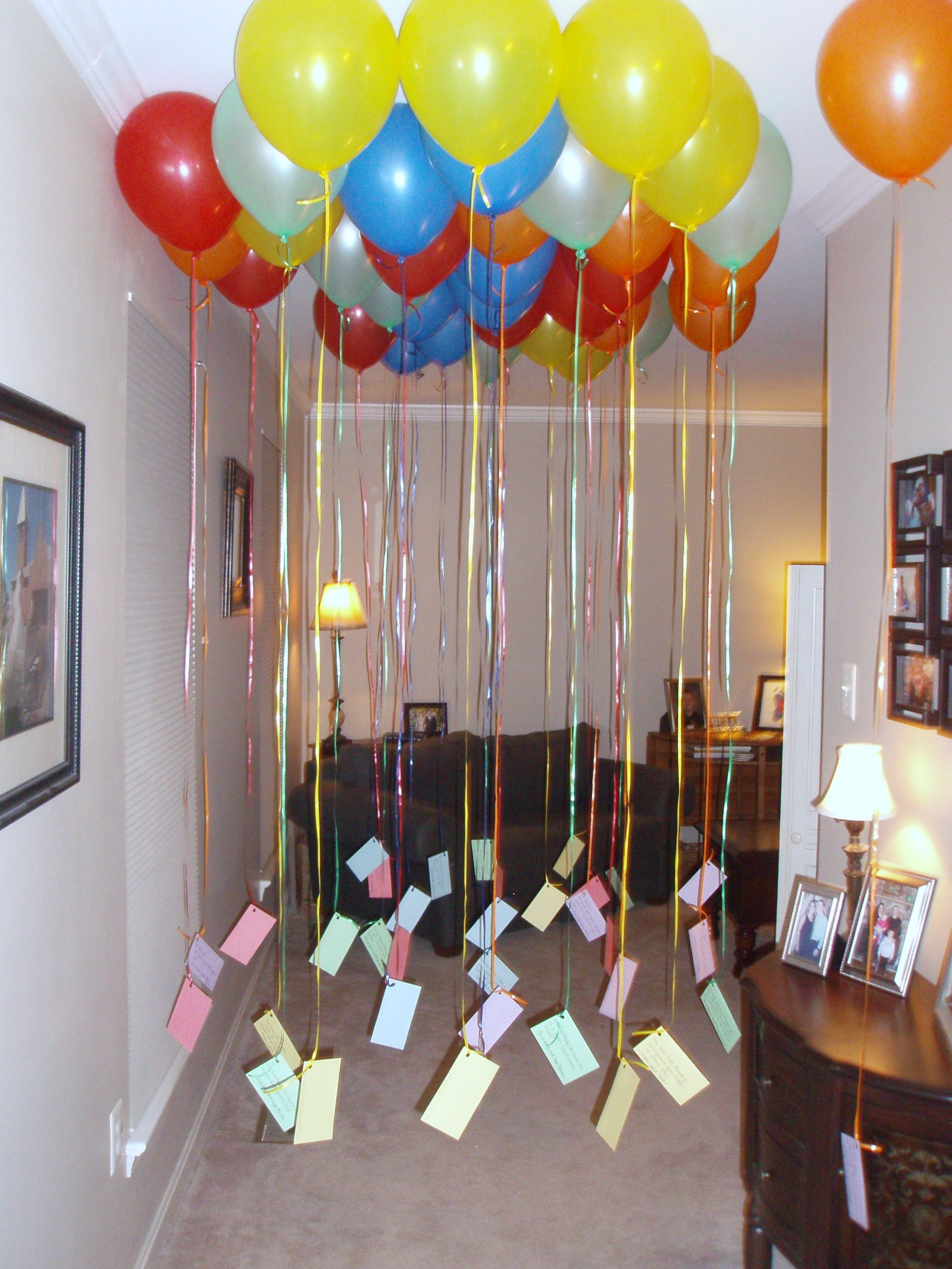 Fill your kid 39 s bedroom with balloons the night before for 35th birthday decoration ideas