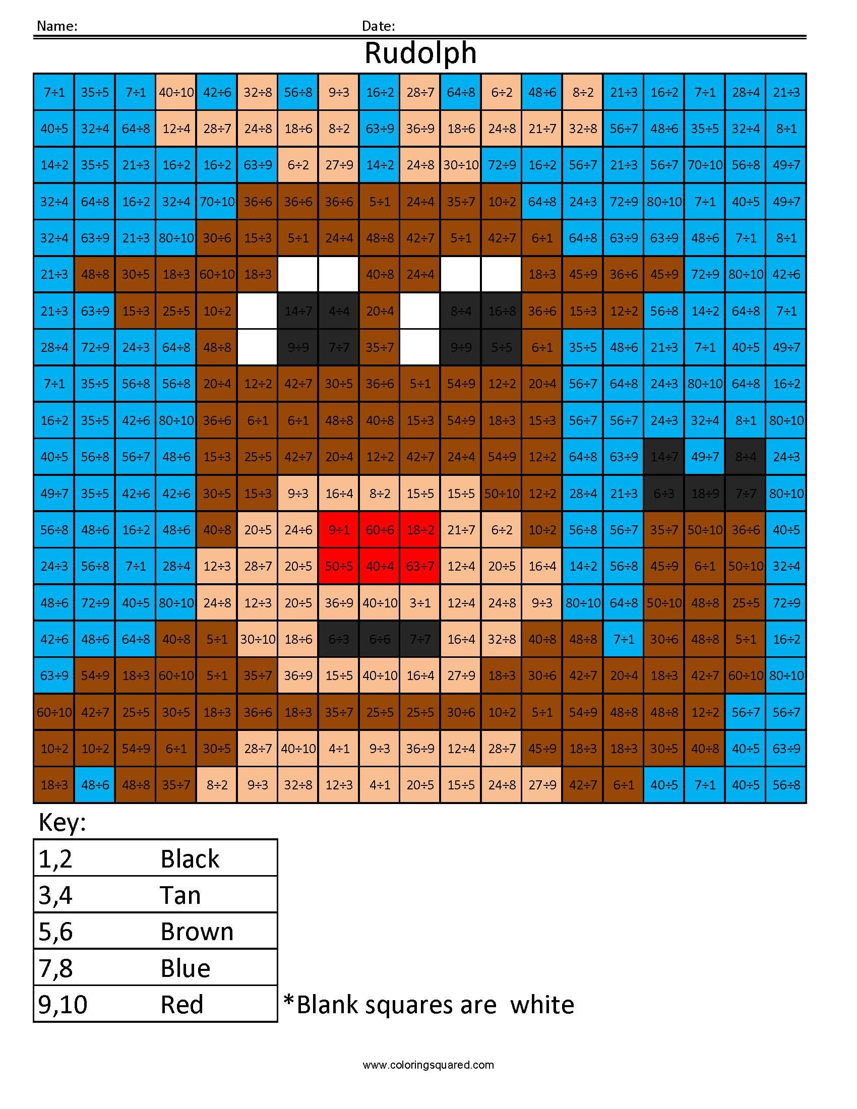 holiday multiplication and division rudolph coloring squared