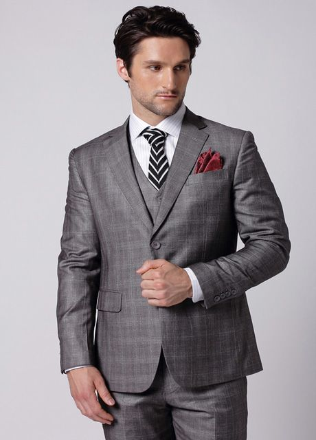 Smoky Gray Checked Man Suit | [Matthewaperry.com]Men Suits ...