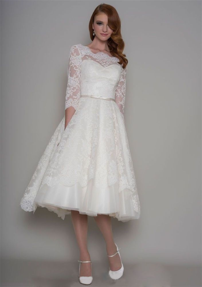 white/ivory 3/4 Sleeve Vintage Lace Tea length Bridal Gown Wedding ...