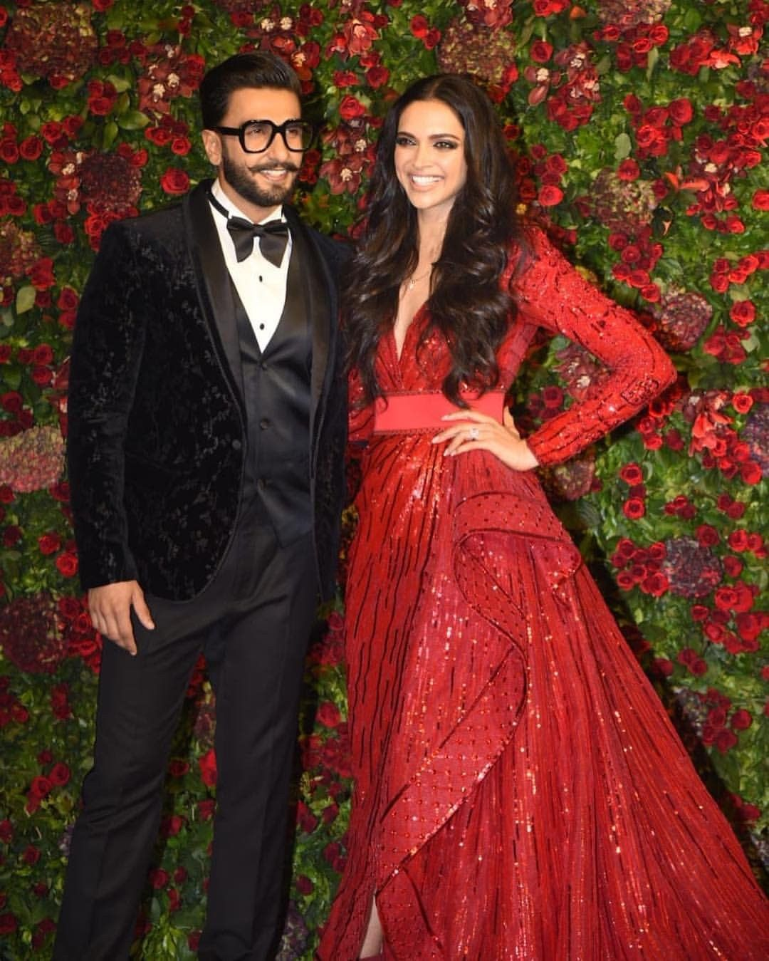 Deepika Padukone With Ranveer Singh Deepveer Wedding Reception Engagement Dresses Bollywood Fashion Indian Celebrities