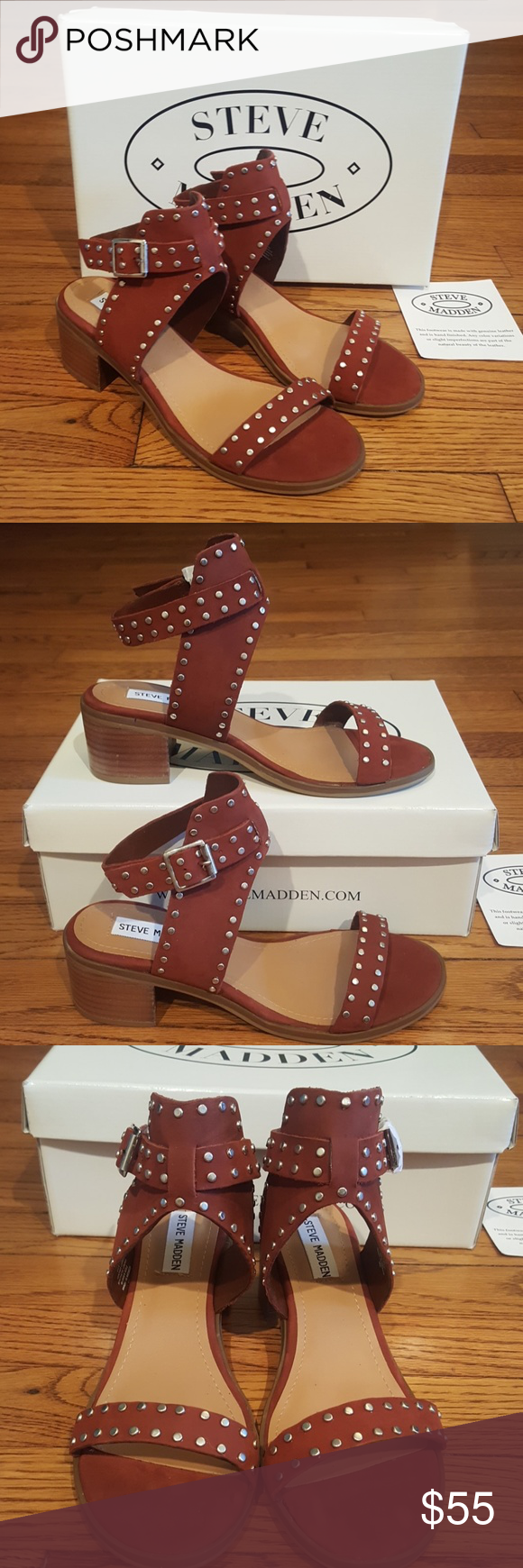 79dd2f72e87c20 New Steve Madden Gila Leather Studded Sandals Rust (color) 2