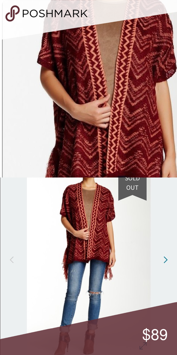 4eadeb4d843b Romeo + Juliet red   orange combo short sleeve fringe cardigan. So cute for  country concerts! Size S. Material  100% acrylic. Loose fit.