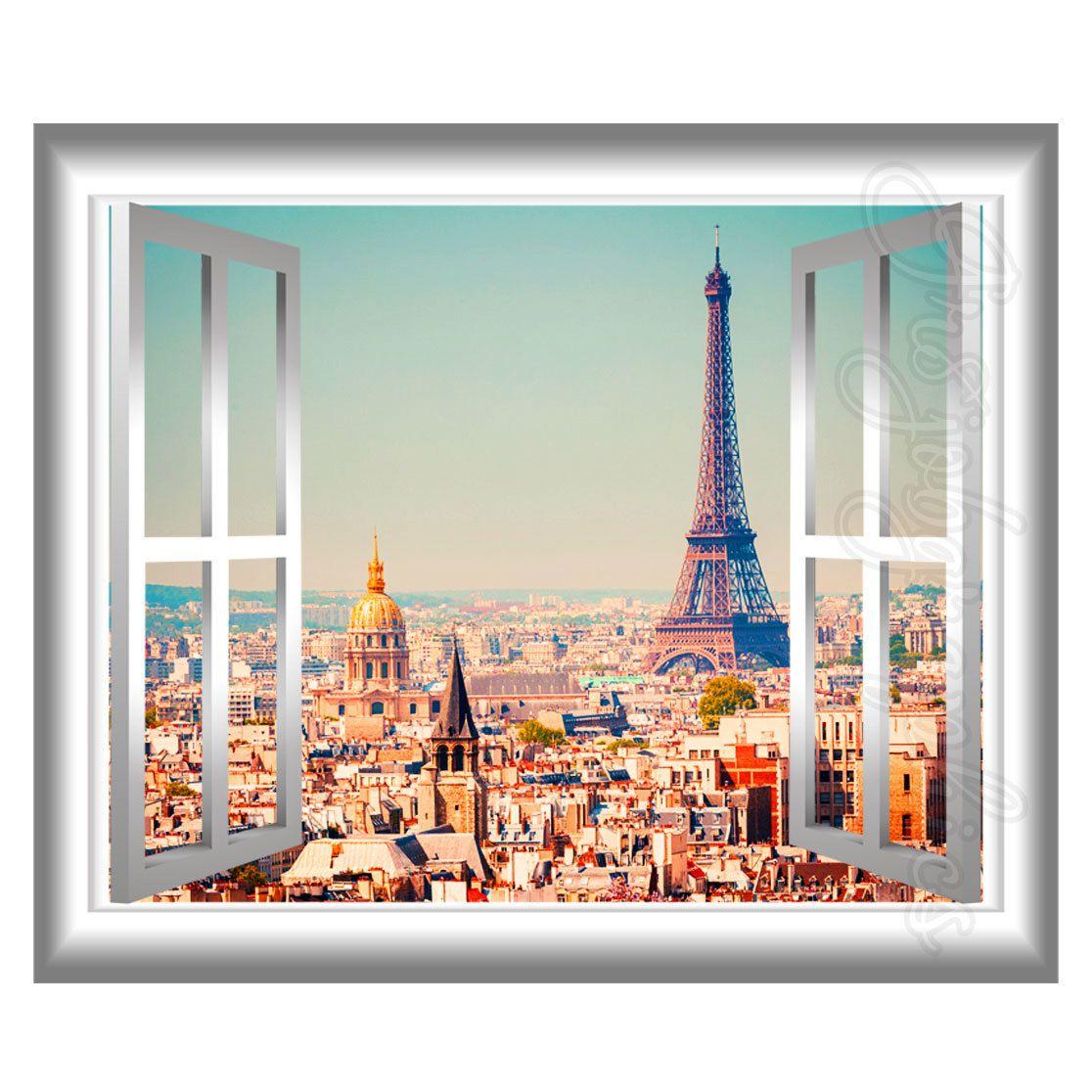 D Window Wall Decal Eiffel Tower Paris Home Decor France D Wall - 3d window wall decals