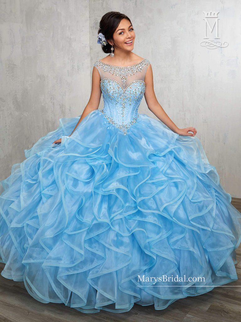 Illusion Ruffled Quinceanera Dress by Mary\'s Bridal Princess 4Q513 ...