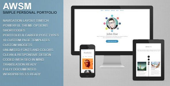 AWSM - Simple Personal Portfolio WordPress Theme #wordpress #theme ...