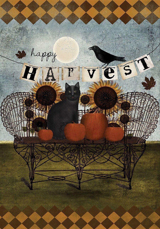 Happy Harvest Primitive Fall House Flag Sunflowers Black Cat ...