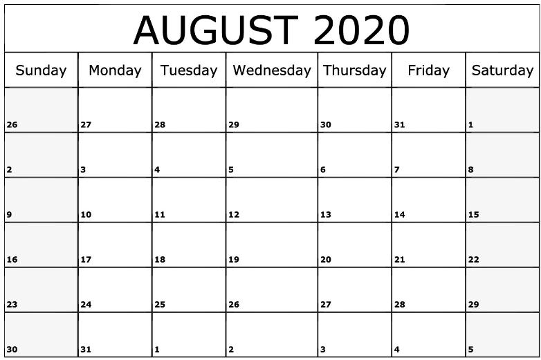 Free Printable August 2020 Calendar.August 2020 Calendar Printable August Calendar Printable