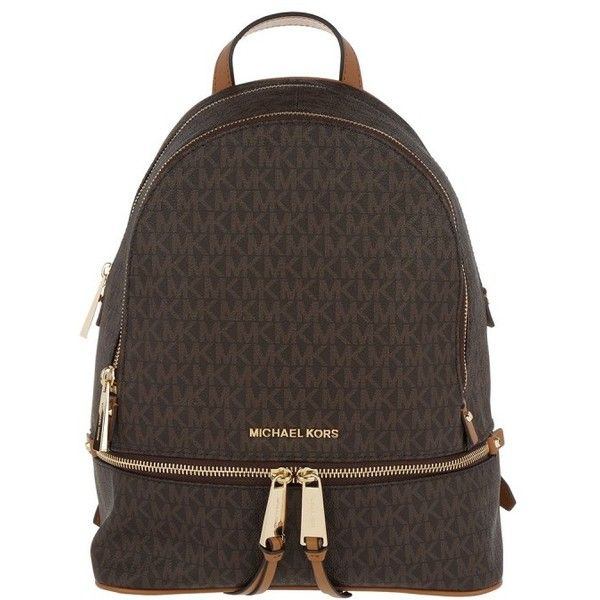 f429b74ba034 Michael Kors Shoulder Bag - Rhea Zip MD Backpack Brown - in brown -...  ($260) ❤ liked on Polyvore featuring bags, backpacks, brown, michael kors,  backpack ...