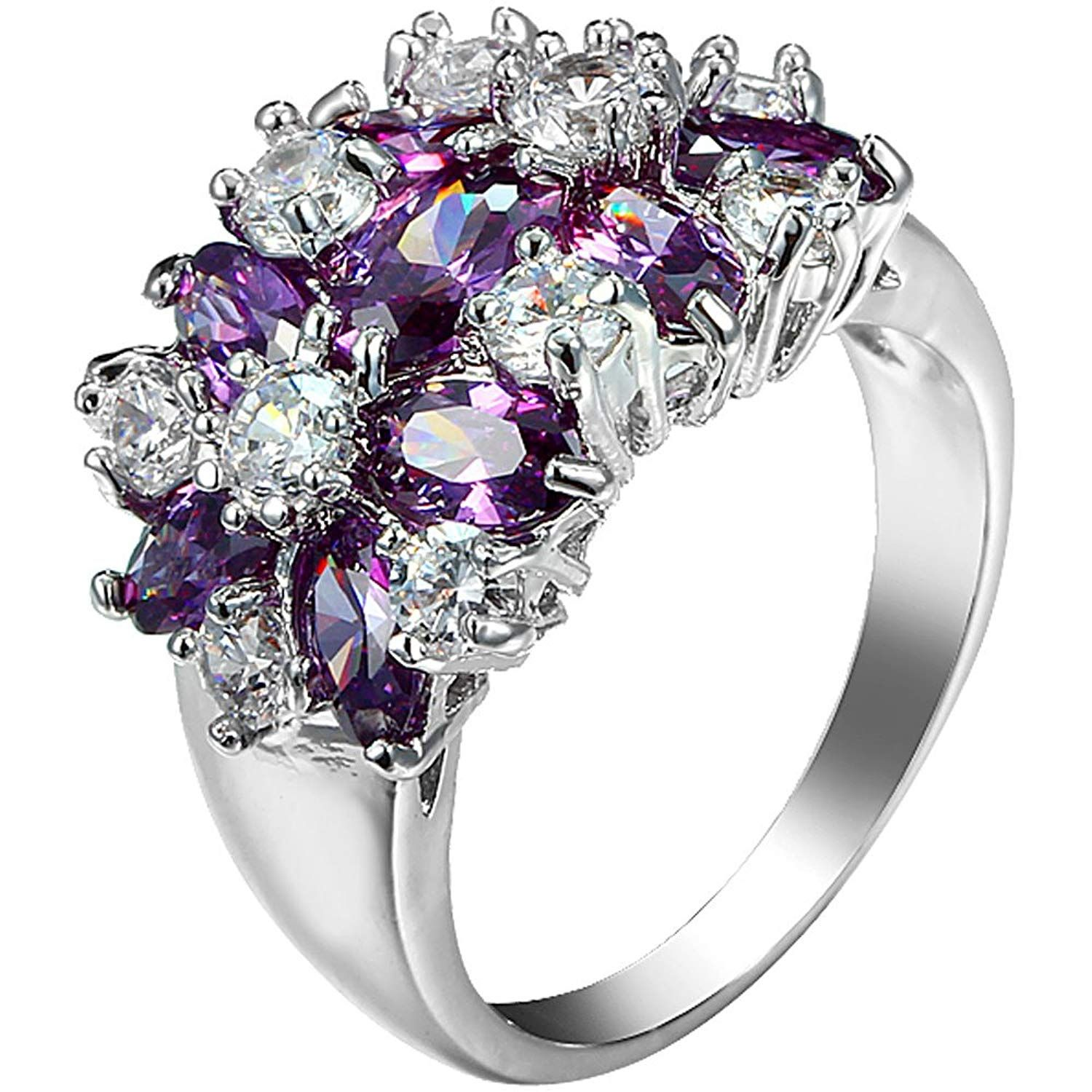 XAHH Womens 925 Sterling Silver Plated Purple Cubic