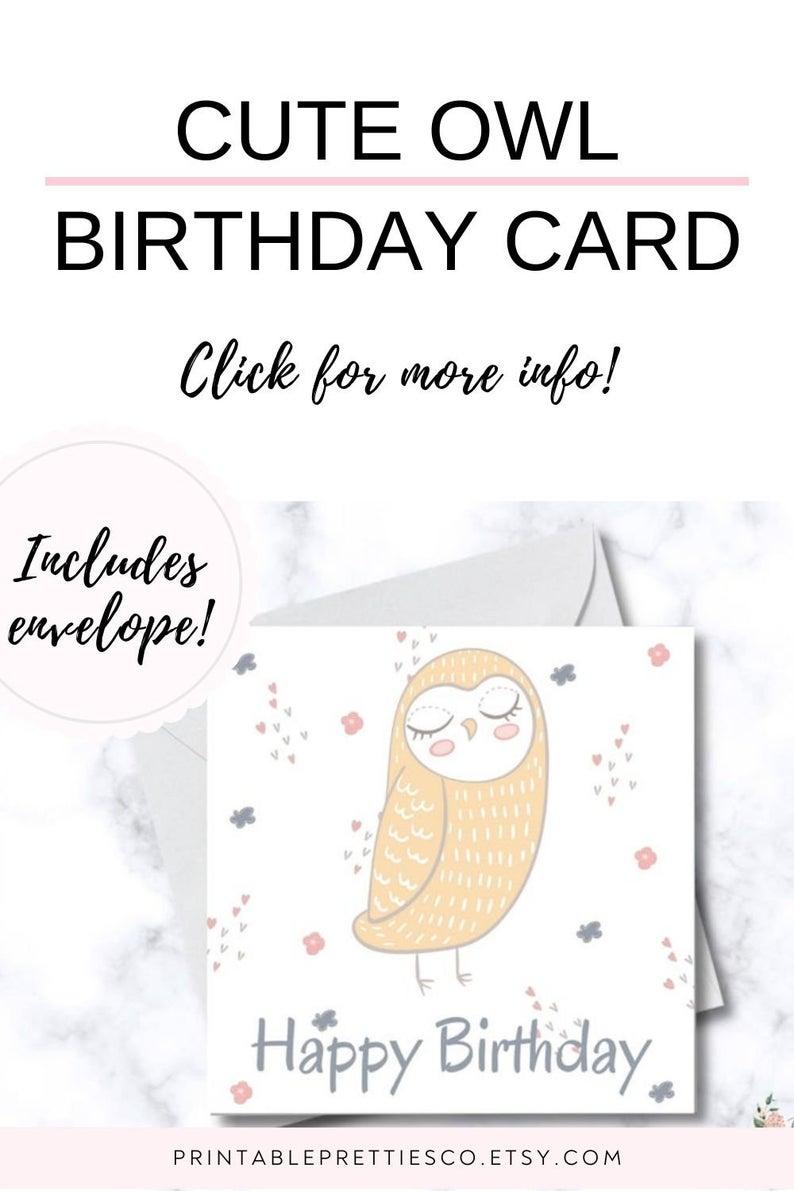 Child Birthday Card Printable Owl Digital Birthday Card For Etsy Birthday Card Printable Digital Birthday Cards Kids Birthday Cards