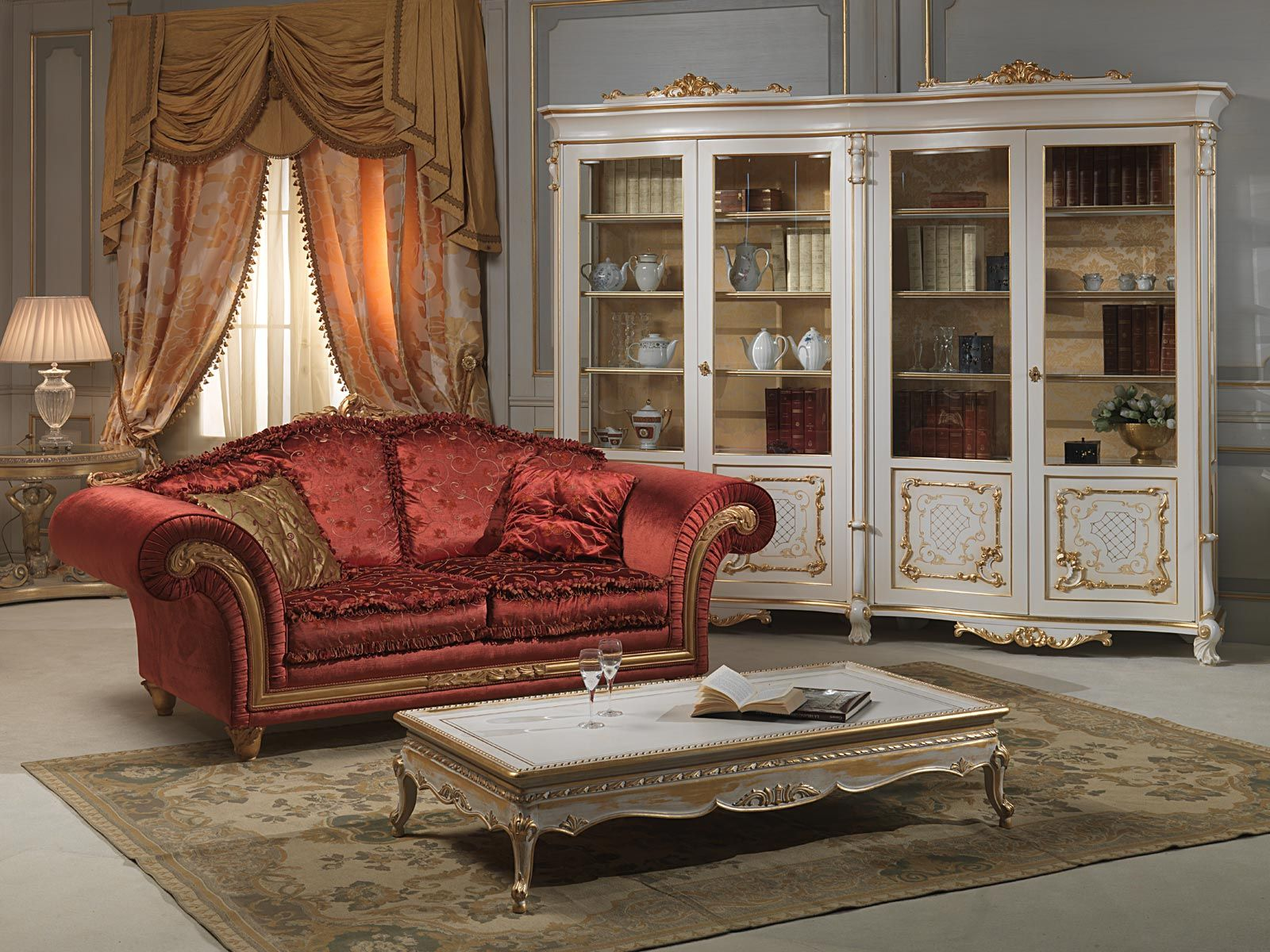 Classic Living Room With Carved Glass In Louis Xv Style Luxury