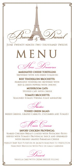 french paris themed wedding menu in pink and brown paris wedding