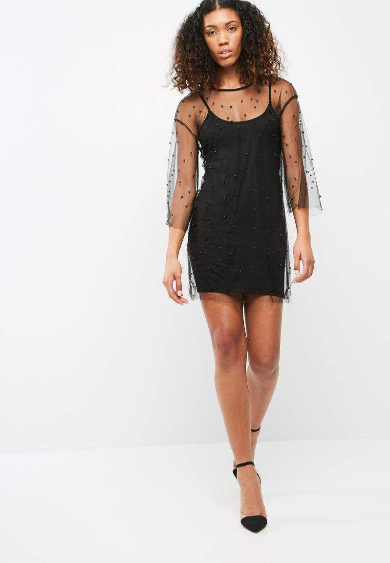 Beaded embellished mesh oversized mini dress missguided