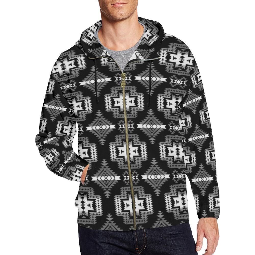 Sweat à capuche zippé à imprimé intégral Pretty Blanket noir et blanc pour homme (modèle H14) – M   – Products