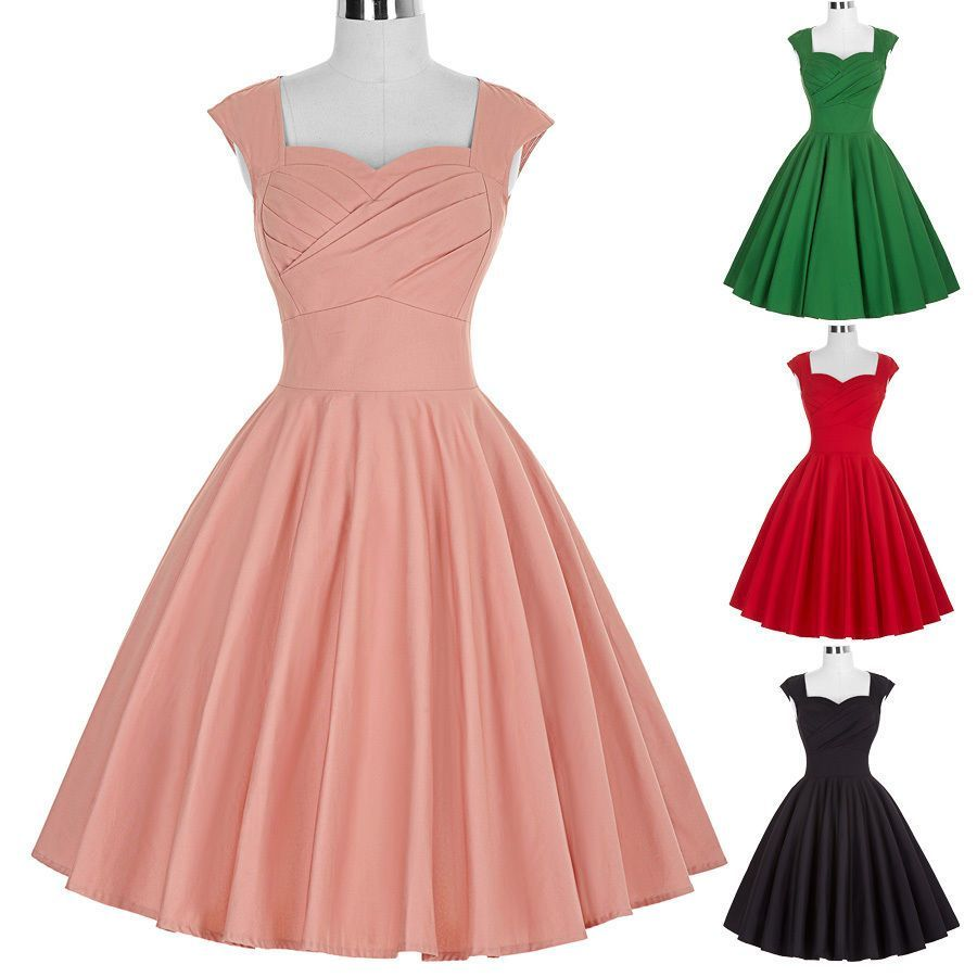 Women Vintage Retro 50s Pinup Swing Prom Cocktail Party Dress Mini