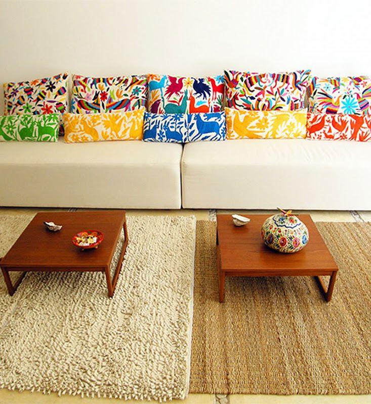 Otomi fabric pillows.