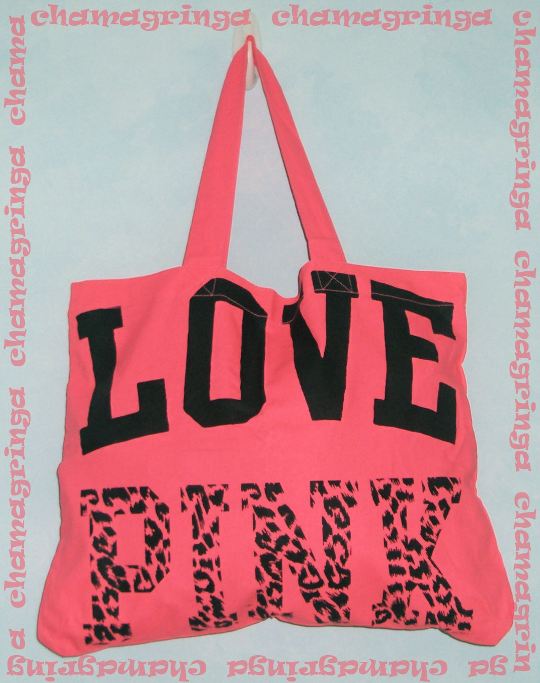 53dc7a65f5aa Victoria s Secret ♥ LOVE PINK ♥ neon pink TOTE   Book   Shopper   Beach  Gym  Bag
