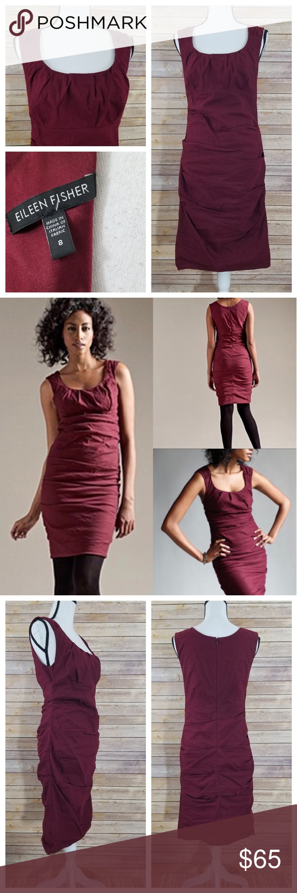 0e9d48b3a6 Eileen Fisher 8 Cranberry Ruched Bodycon Dress Eileen Fisher cranberry  ruched midi dress
