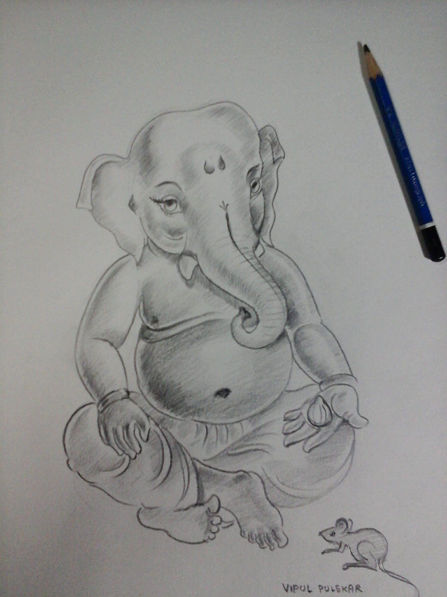 How to make ganesha bal ganesha sketch with pencil shading part 1