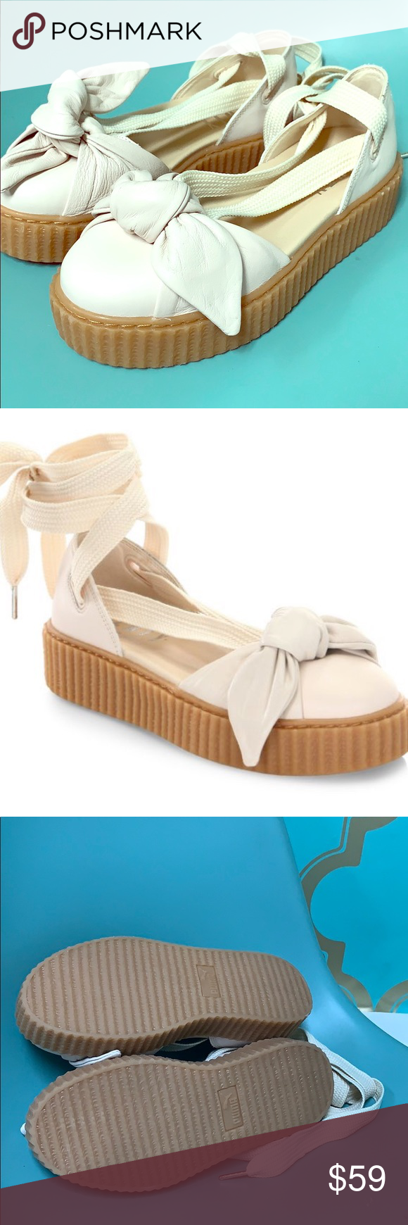 e7a297eac21f New Puma Fenty leather bow creepers oatmeal 6.5 New Puma Fenty Bandana Bow  🎀 leather creeper flats by Rihanna lace up size 6.5 US ladies Bow Creeper  Sandal ...