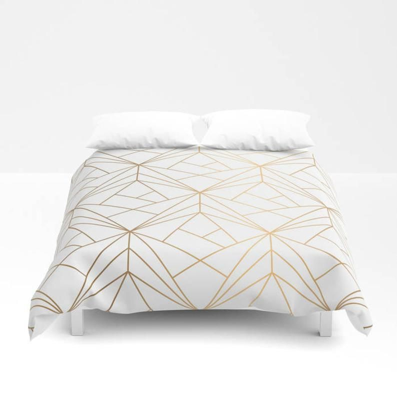Geometric Gold Pattern Duvet Cover Gold Bed Cover Bohemian Etsy Gold Duvet Duvet Cover Pattern Duvet Covers Bohemian